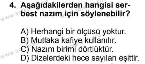 Türk Edebiyatı 8 Dersi 2011 - 2012 Yılı Ek Sınav Soruları 4. Soru
