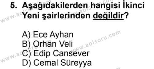 Türk Edebiyatı 8 Dersi 2013-2014 Yılı 1. Dönem Sınavı 5. Soru