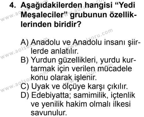 Türk Edebiyatı 8 Dersi 2014-2015 Yılı 1. Dönem Sınavı 4. Soru