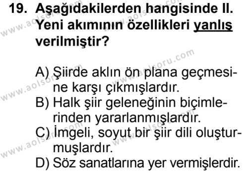 Türk Edebiyatı 8 Dersi 2014-2015 Yılı 1. Dönem Sınavı 19. Soru