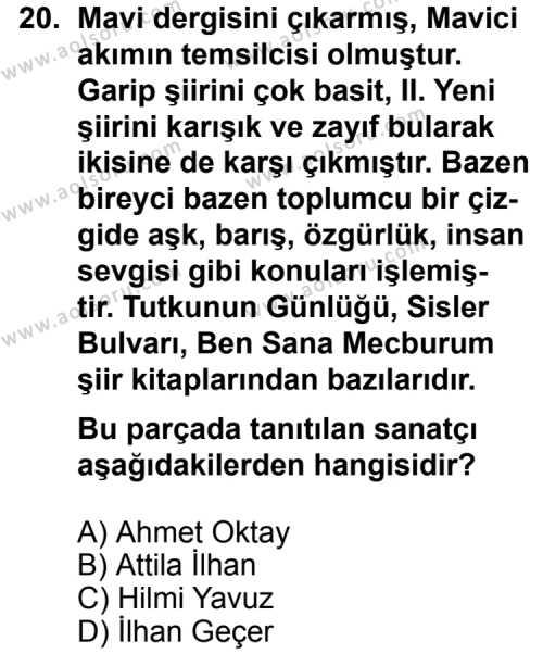 Türk Edebiyatı 8 Dersi 2014-2015 Yılı 1. Dönem Sınavı 20. Soru