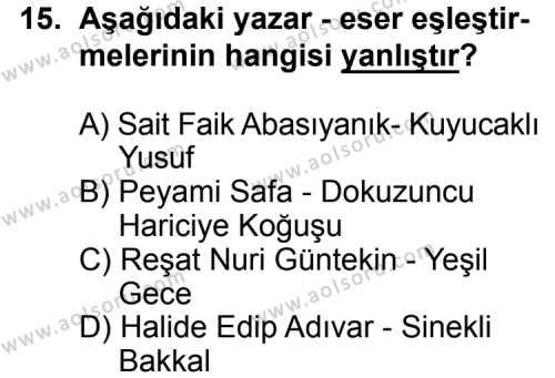 Türk Edebiyatı 8 Dersi 2015-2016 Yılı 1. Dönem Sınavı 15. Soru