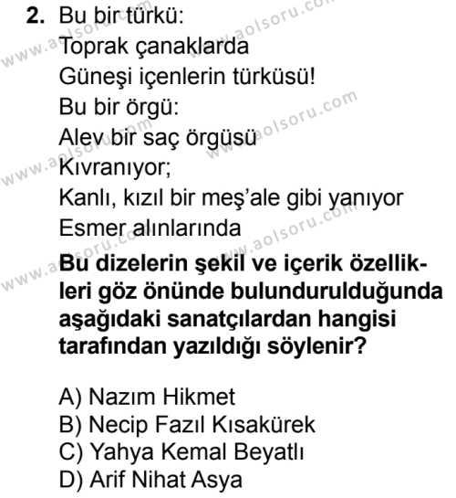 Türk Edebiyatı 8 Dersi 2016 - 2017 Yılı 1. Dönem Sınav Soruları 2. Soru