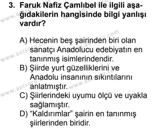 Türk Edebiyatı 8 Dersi 2016 - 2017 Yılı 1. Dönem Sınav Soruları 3. Soru