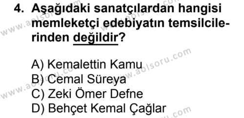 Türk Edebiyatı 8 Dersi 2016 - 2017 Yılı 1. Dönem Sınav Soruları 4. Soru