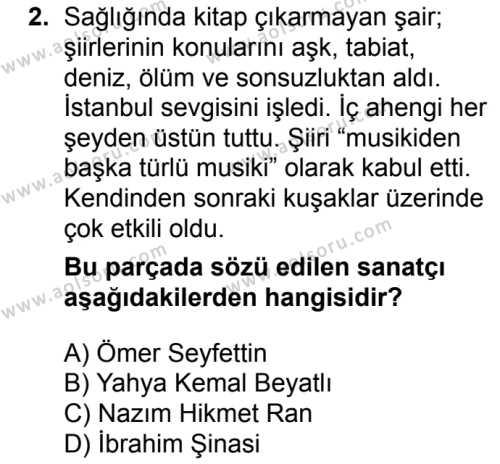 Türk Edebiyatı 8 Dersi 2017 - 2018 Yılı 1. Dönem Sınav Soruları 2. Soru