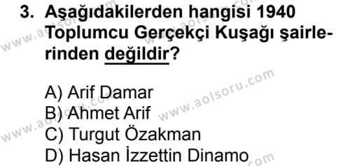 Türk Edebiyatı 8 Dersi 2017 - 2018 Yılı 1. Dönem Sınav Soruları 3. Soru