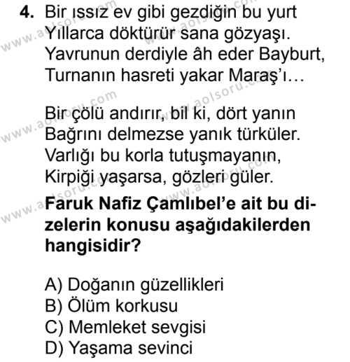 Türk Edebiyatı 8 Dersi 2017 - 2018 Yılı 1. Dönem Sınav Soruları 4. Soru