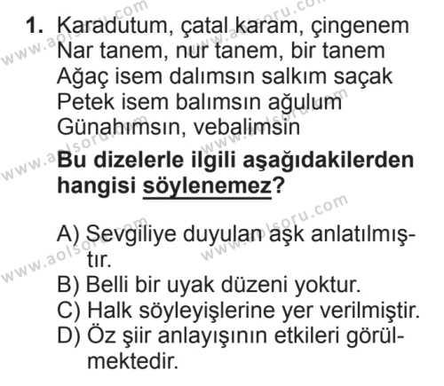 Türk Edebiyatı 8 Dersi 2017 - 2018 Yılı 2. Dönem Sınavı 1. Soru