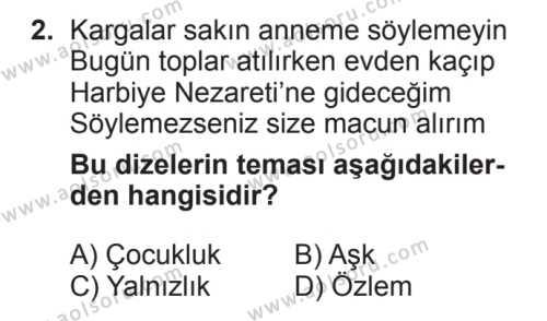 Türk Edebiyatı 8 Dersi 2017 - 2018 Yılı 2. Dönem Sınavı 2. Soru
