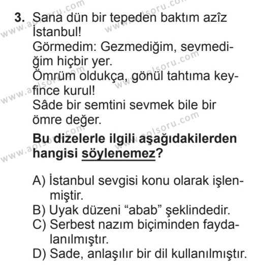Türk Edebiyatı 8 Dersi 2017 - 2018 Yılı 2. Dönem Sınavı 3. Soru