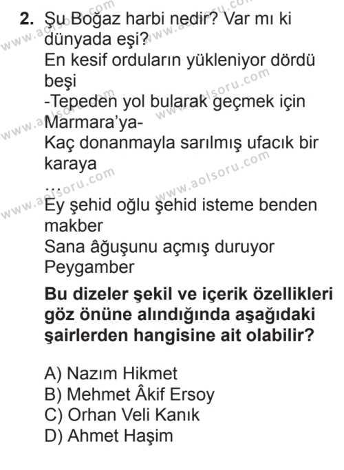 Türk Edebiyatı 8 Dersi 2017 - 2018 Yılı 3. Dönem Sınavı 2. Soru