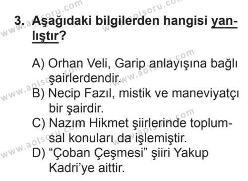 Türk Edebiyatı 8 Dersi 2017 - 2018 Yılı 3. Dönem Sınavı 3. Soru