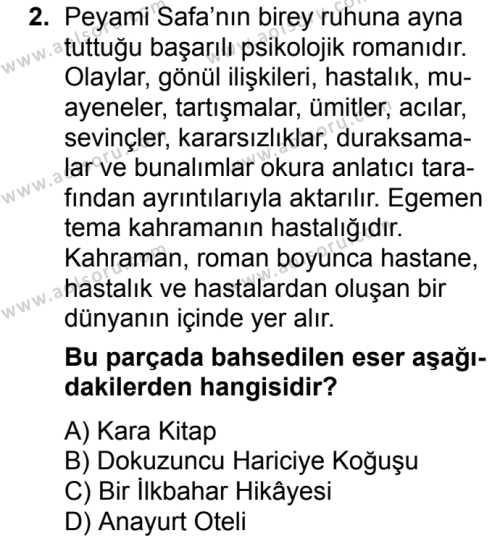 Türk Edebiyatı 8 Dersi 2017 - 2018 Yılı Ek Sınavı 2. Soru