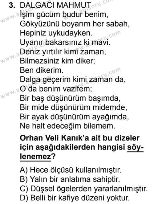 Türk Edebiyatı 8 Dersi 2017 - 2018 Yılı Ek Sınavı 3. Soru